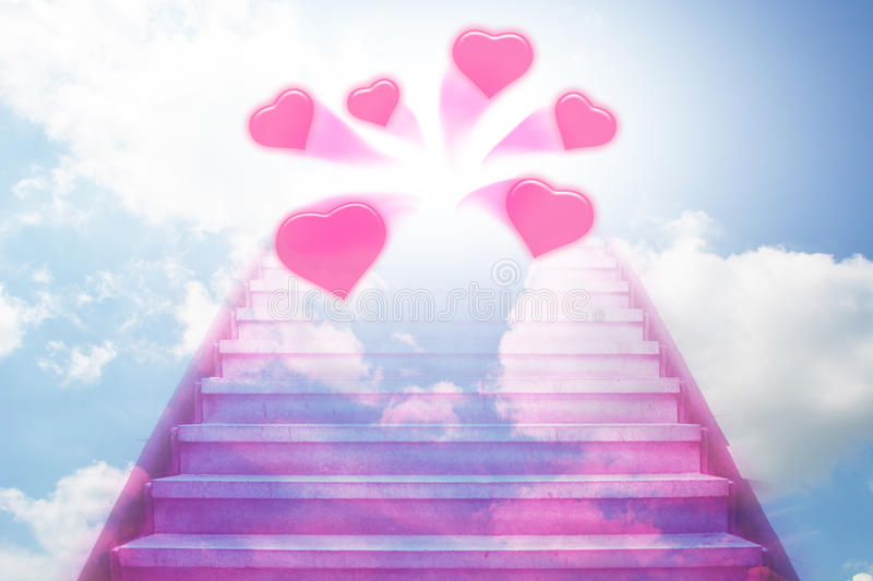 Stairway going up to the hearts vector illustration