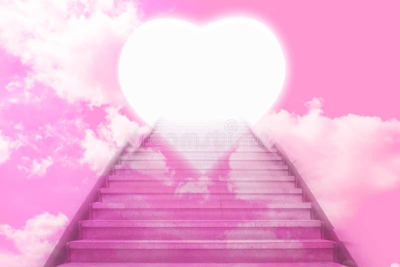 Stairway going up to the hearts door vector illustration