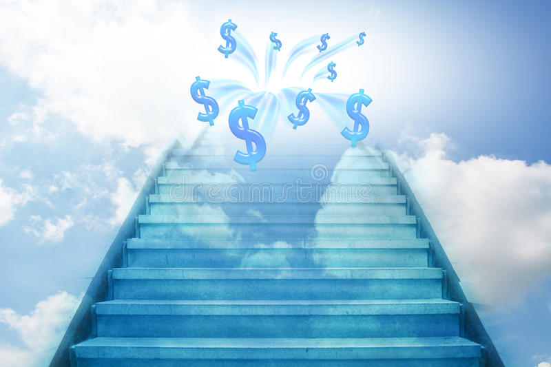 Stairway going up to the money vector illustration