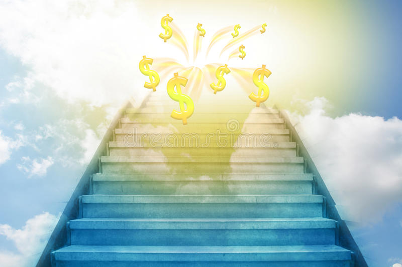 Stairway going up to the money. Sky background stock illustration