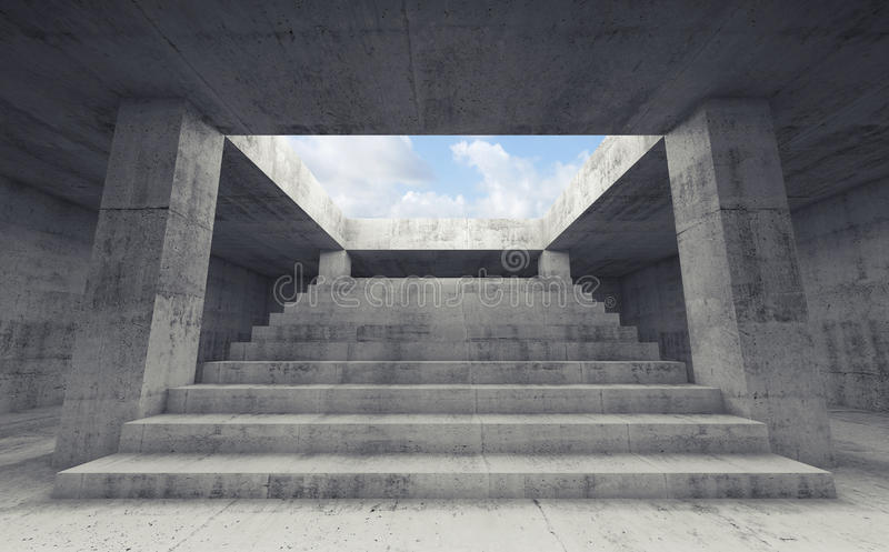 Stairway going up to the sky, 3d render stock illustration