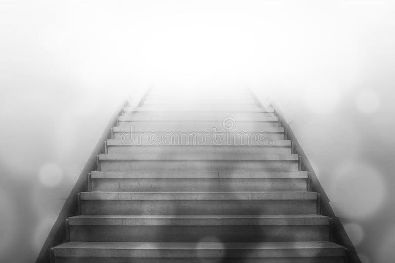 Stairway going up to white light royalty free illustration