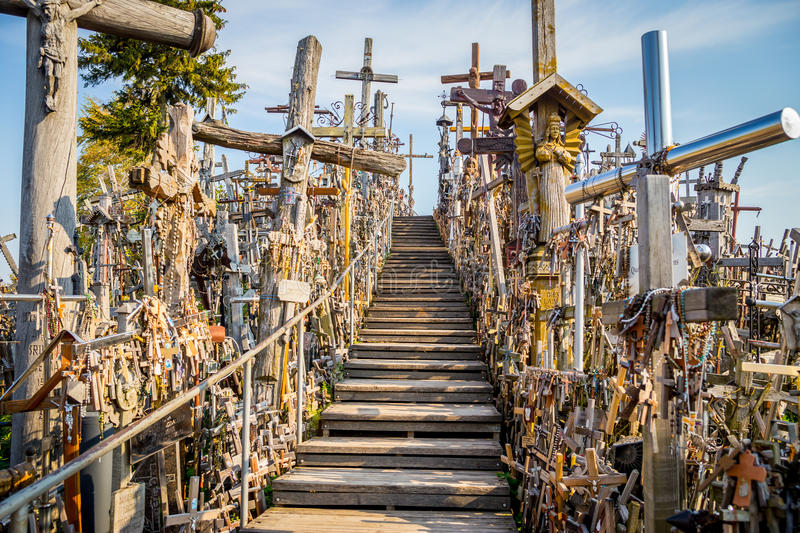 Stairway, Hill of Crosses, Lithuania royalty free stock photography