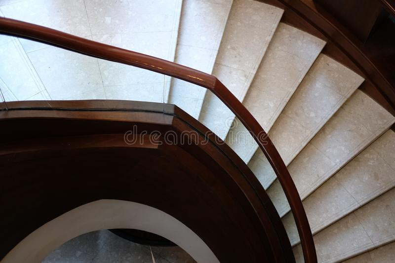 Stairway interior architecture. circular classic staircase in ho. Tel resort royalty free stock photos