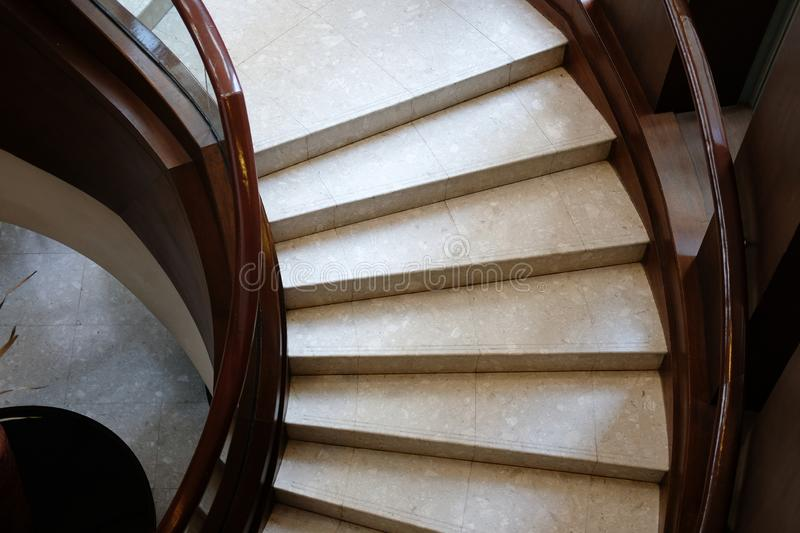 Stairway interior architecture. circular classic staircase in ho. Tel resort royalty free stock photo
