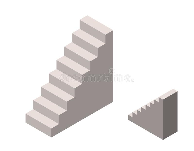 Stairway. Isolated on white background. Isometric projection royalty free illustration