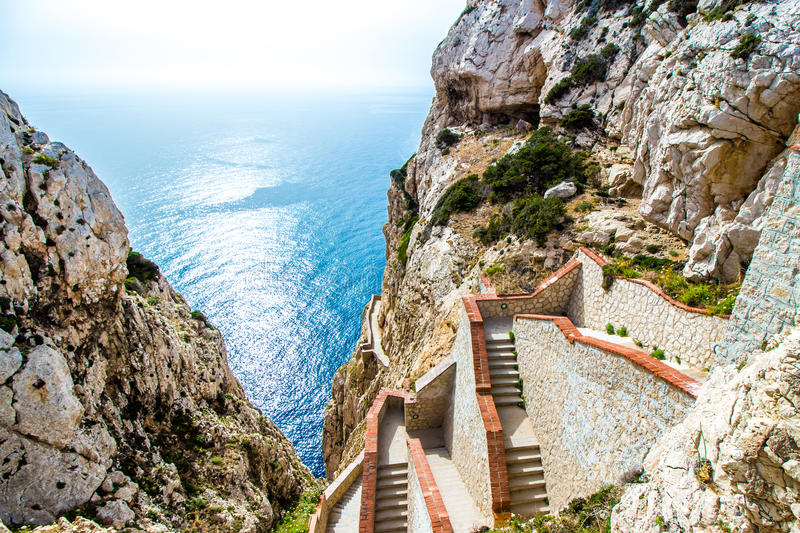 The stairway leading to the Neptune's Grotto,near Alghero, in Sa royalty free stock images