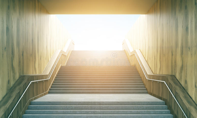 Stairway leading to sunshine. Success concept with stairway leading up to bright sunshine. Toned image. 3D Rendering vector illustration