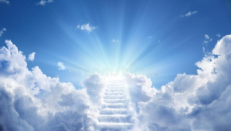 Stairway Leading Up To Heavenly Sky stock photography