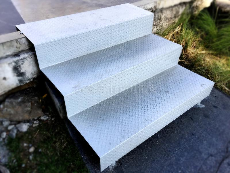 Stairway made from Welded One Checker Plate royalty free stock photography