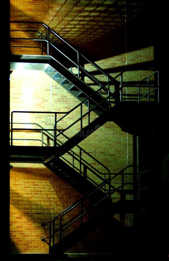 Stairway at night stock image