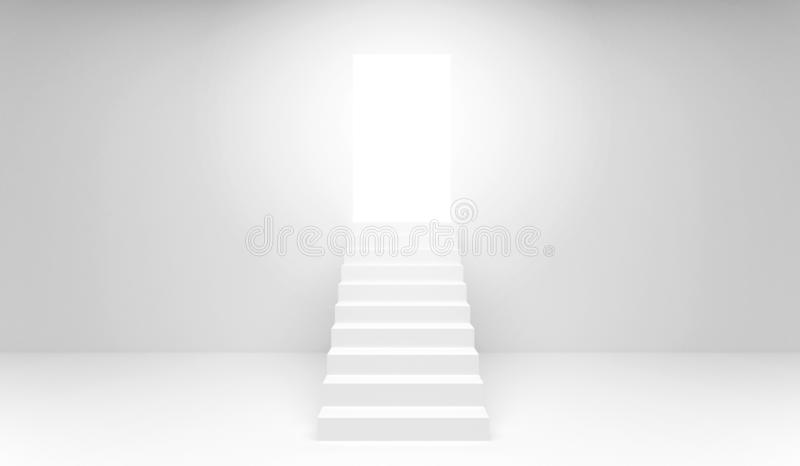 Stairway with open door 3d rendering vector illustration