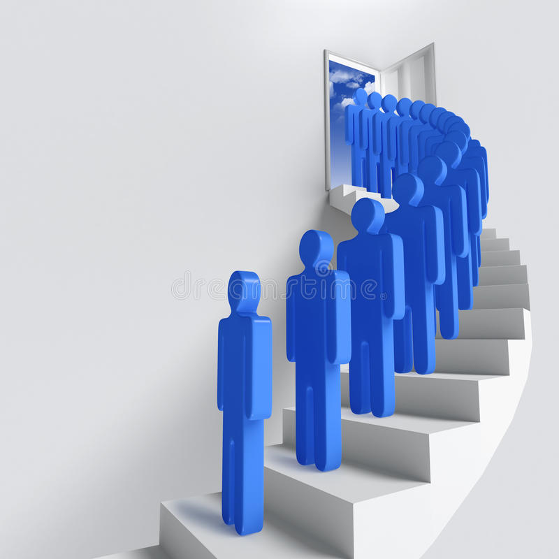 Stairway or opportunity for success. Stairway to heaven as success or achievement stock illustration