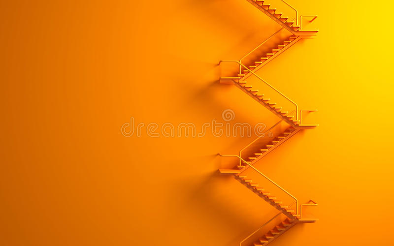 Download Stairway On The Orange Wall Royalty Free Stock Photos - Image: 25933228