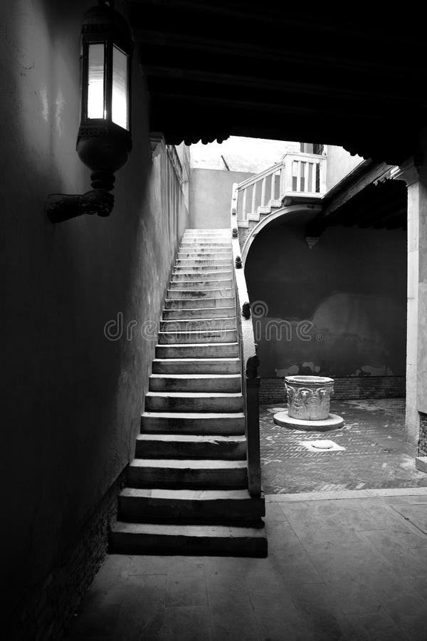 Stairway preto e branco imagens de stock