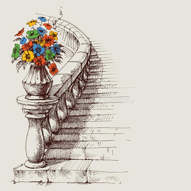 Stairway and railing sketch vector illustration