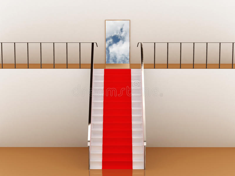 Stairway with red carpet to the sky