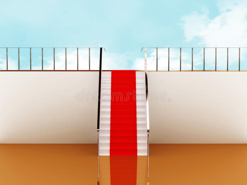Download Stairway With Red Carpet To The Sky Stock Illustration - Illustration: 16313915
