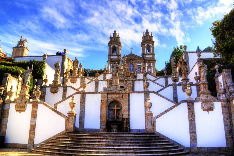 Stairway of Sanctuary of Bom Jesus Do Monte in Tenoes, Braga, Portugal. Bom Jesus do Monte is a Portuguese sanctuary in Tenões, outside the city of Braga, in royalty free stock image