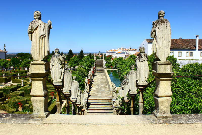 Stairway with statues of portuguese kings, Castelo Branco, Portugal. Stairway with statues of portuguese kings at Castelo Branco, Portugal royalty free stock image