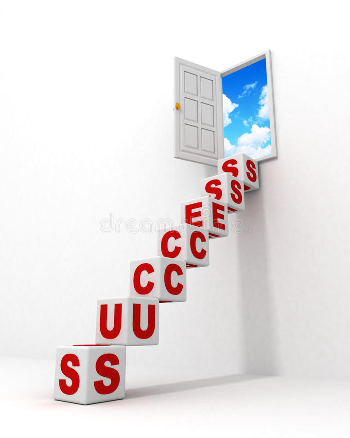 Download Stairway Success Ladder Of Cubes To The Sky Door Stock Image - Image: 22577927