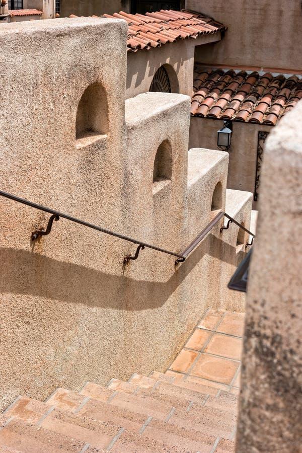 Stairway, Tlaquepaque in Sedona, Arizona. Old Mexico architecture, Tlaquepaque Arts and Crafts Village in Sedona stock images