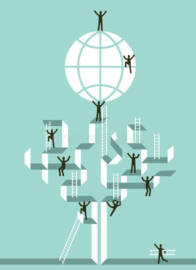 Stairway to business global success. Proactive teamwork to global business success concept tree ilustration. Vector file layered for easy manipulation and custom vector illustration