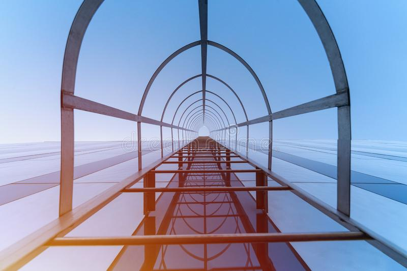 Stairway to Heaven concept, Fire escape staircase of modern shopping center, Emergency fire exit, Bottom view stock image