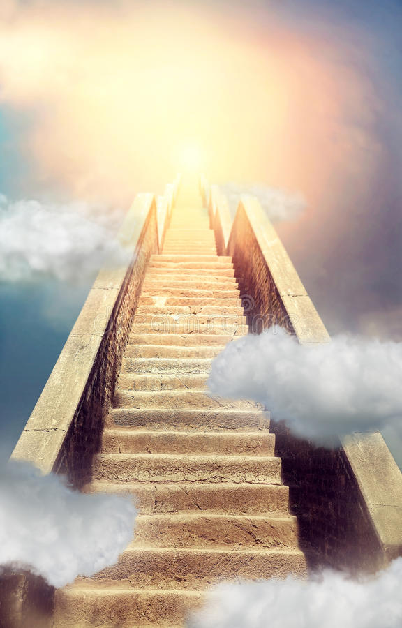 Stairway to heaven concept, holy way to paradise. Heavenly stairway royalty free stock image