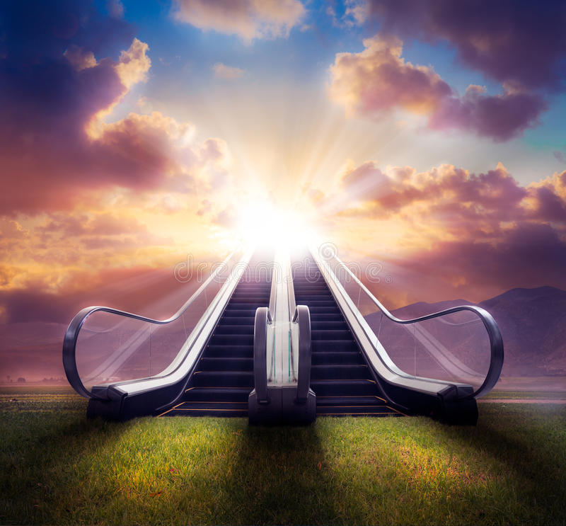 Stairway to heaven / high contrast, photo composite stock photo