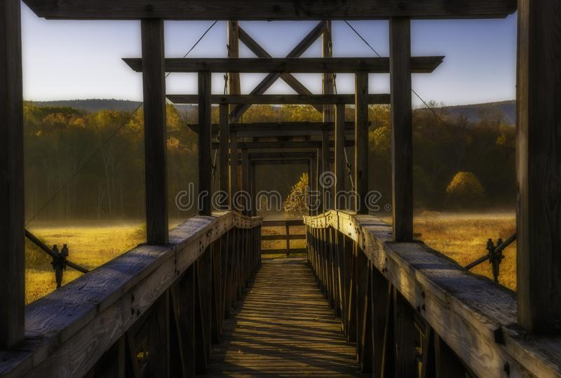 Stairway to heaven, New Jersey. Beautiful morning view of suspension bridge at Wawayanda state park. Stairway to heaven is 2.9 miles long hiking trail via stock photos