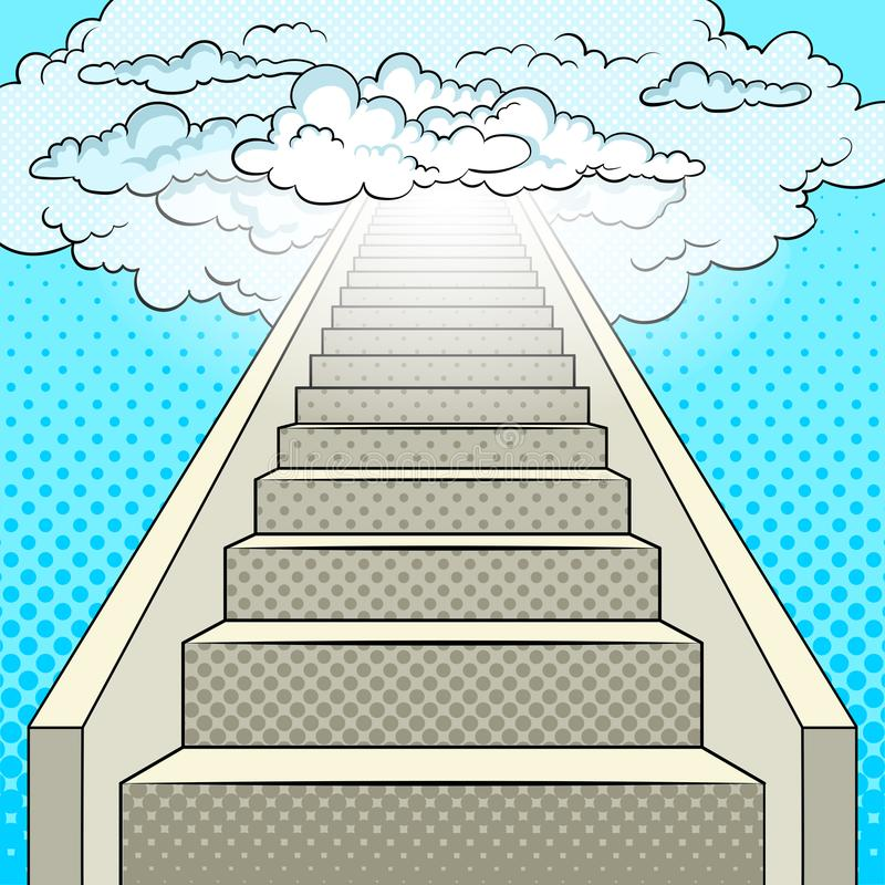 Stairway to heaven pop art vector vector illustration
