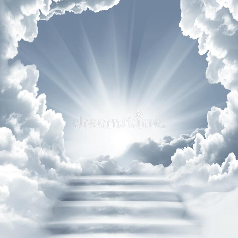 Free Stairway To Heaven.Stairs In Sky.  Concept With Sun And White Clouds. Religion  Background Royalty Free Stock Images - 172650629