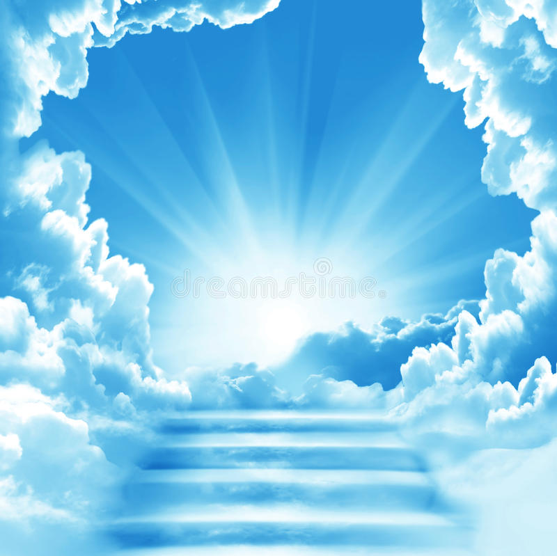 Stairway to Heaven. Stairs in sky. Concept with sun and white clouds. Concept Religion background