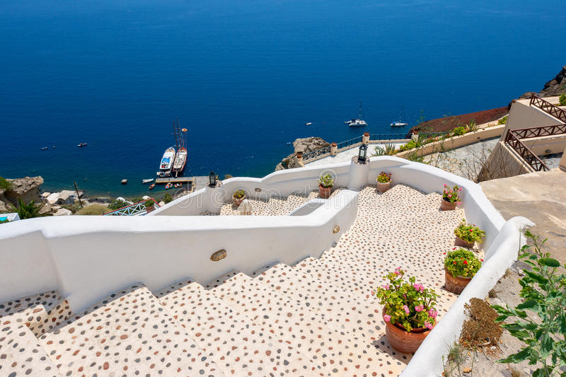 Stairway to sea. Oia, Santorini, Greece royalty free stock photos