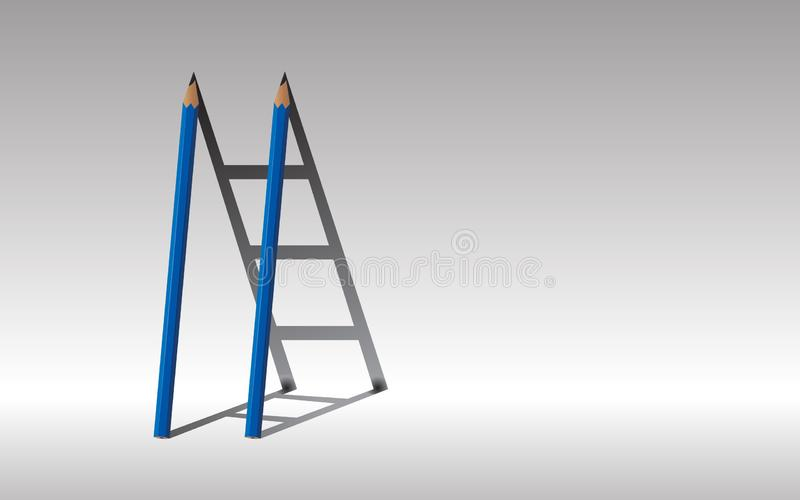 Stairway to success., Blue Two pencils and shadow staircase., Le stock images