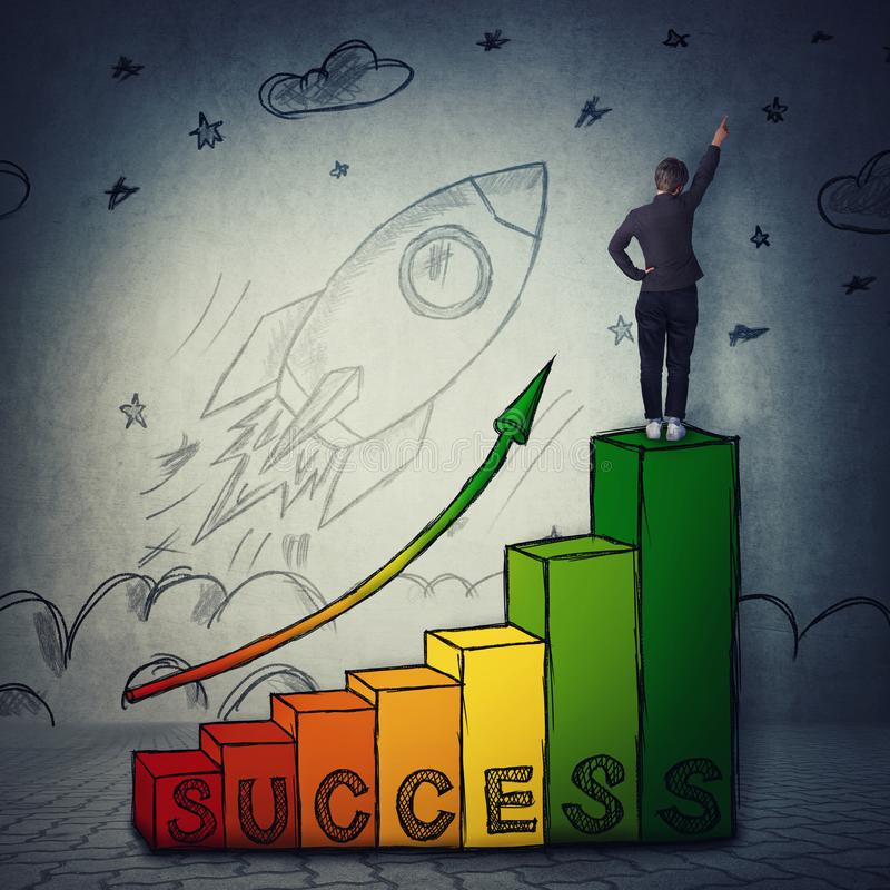 Stairway to success, professional startup growth and achievements concept and a rocket launch take off. Young woman celebrate raising hand on the top of a chart royalty free stock photos