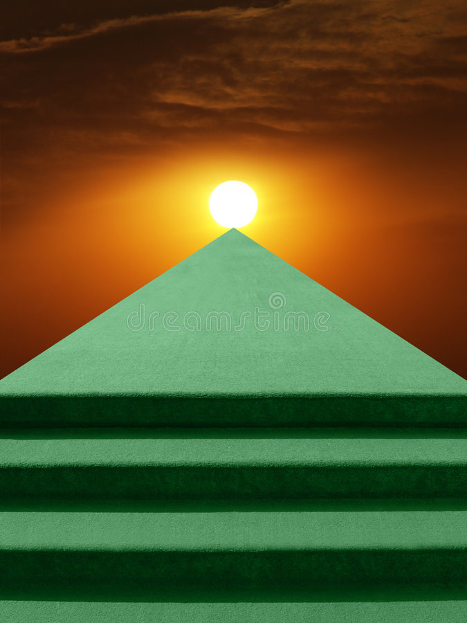 Stairway to Sun. A metaphorical image of a green stairway leading towards sun royalty free illustration