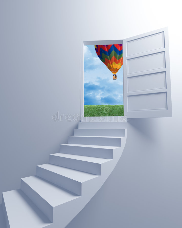 Free Stairway To The Freedom And Balloon Stock Image - 8973981