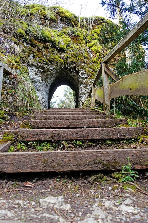 Stairway to a tunnel royalty free stock photo