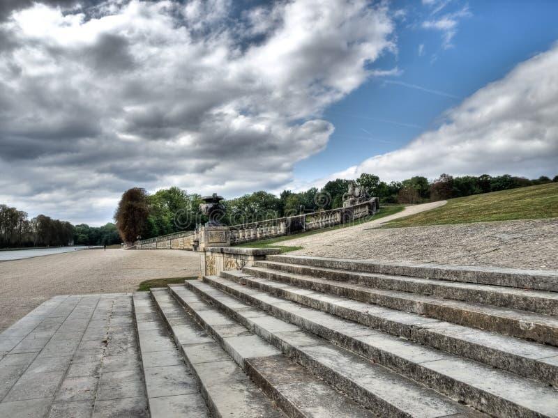 Staistaircase in Vaux le Vicomte castle. Park stock image