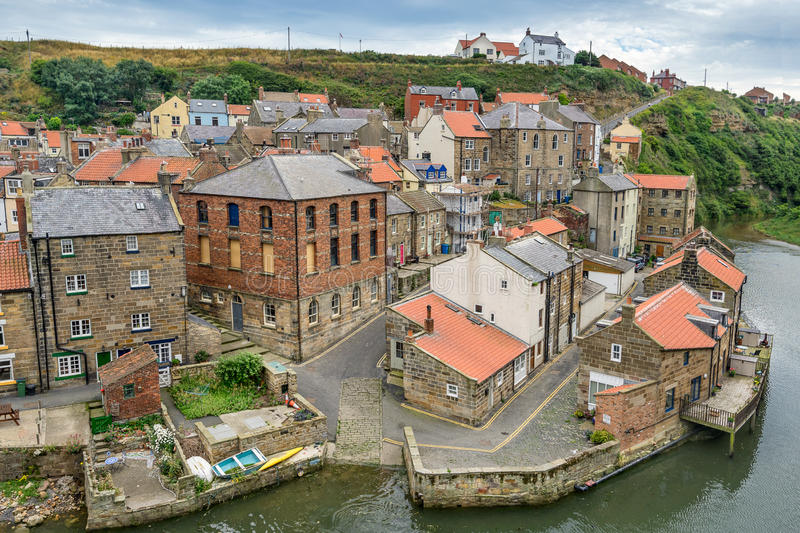 Staithes i Yorkshire England arkivfoto
