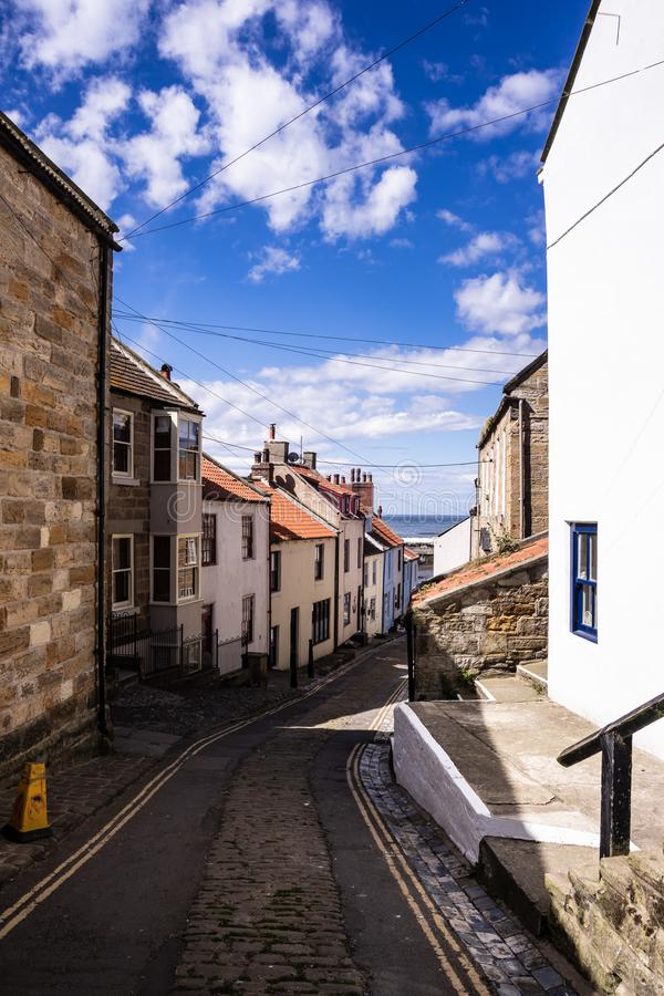 Staithes, North Yorkshire, UK. A view looking down High Street royalty free stock photography