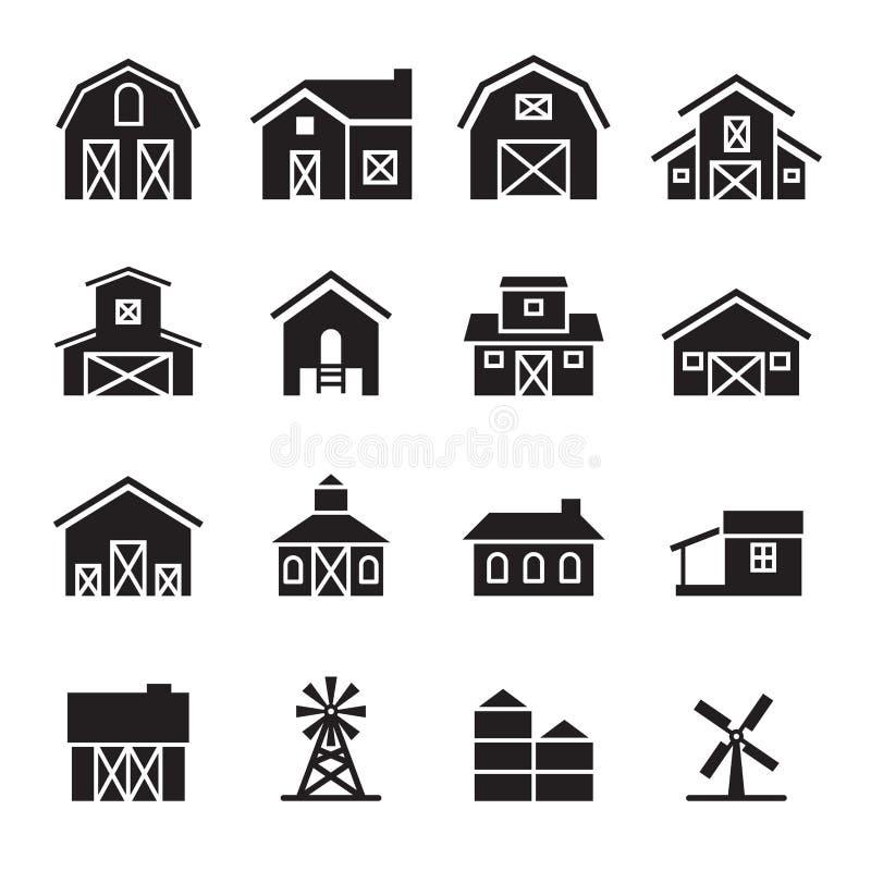 Stajni & rolnego budynku ikony set ilustracja wektor