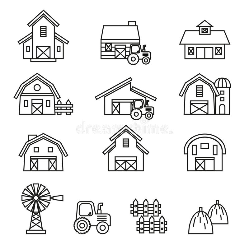 Stajni & rolnego budynku ikony set ilustracji