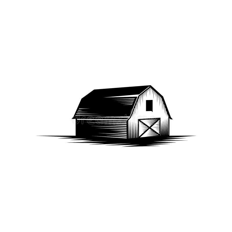 Stajni wektorowa ilustracja, Rolna logo projekta inspiracja, rocznika logo projekta rolny element royalty ilustracja