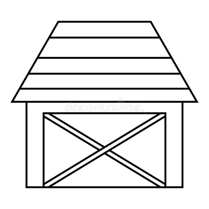 Stajnia dla zwierzę ikony, konturu styl ilustracja wektor