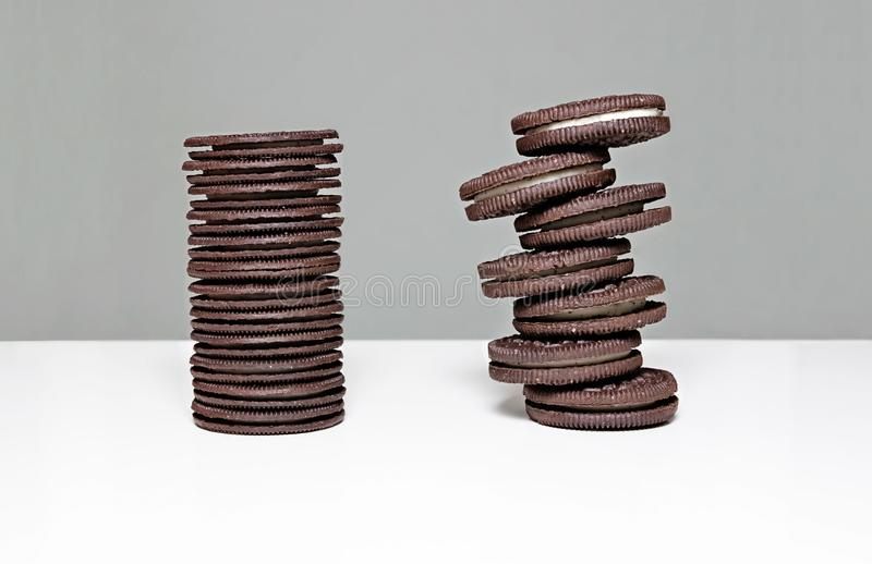 Staked Oreo Cookies Tower stock photo