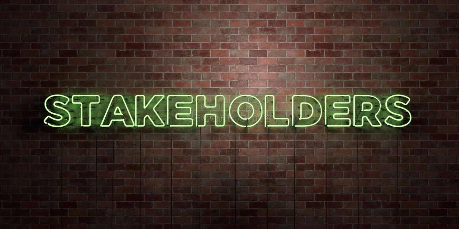 STAKEHOLDERS - fluorescent Neon tube Sign on brickwork - Front view - 3D rendered royalty free stock picture. Can be used for online banner ads and direct stock illustration