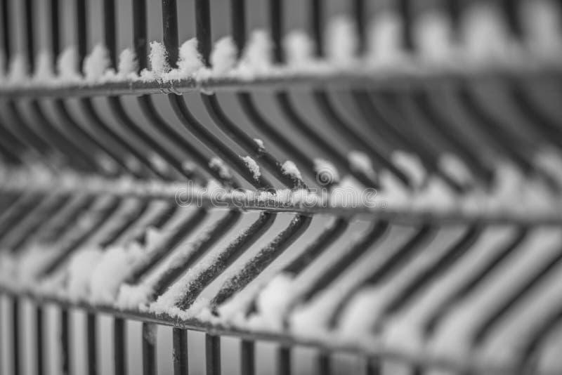 Staket för järntrådingrepp på vit bakgrund att förtjäna för ingrepp galvaniserade perspektiv som går in i avståndet arkivbild